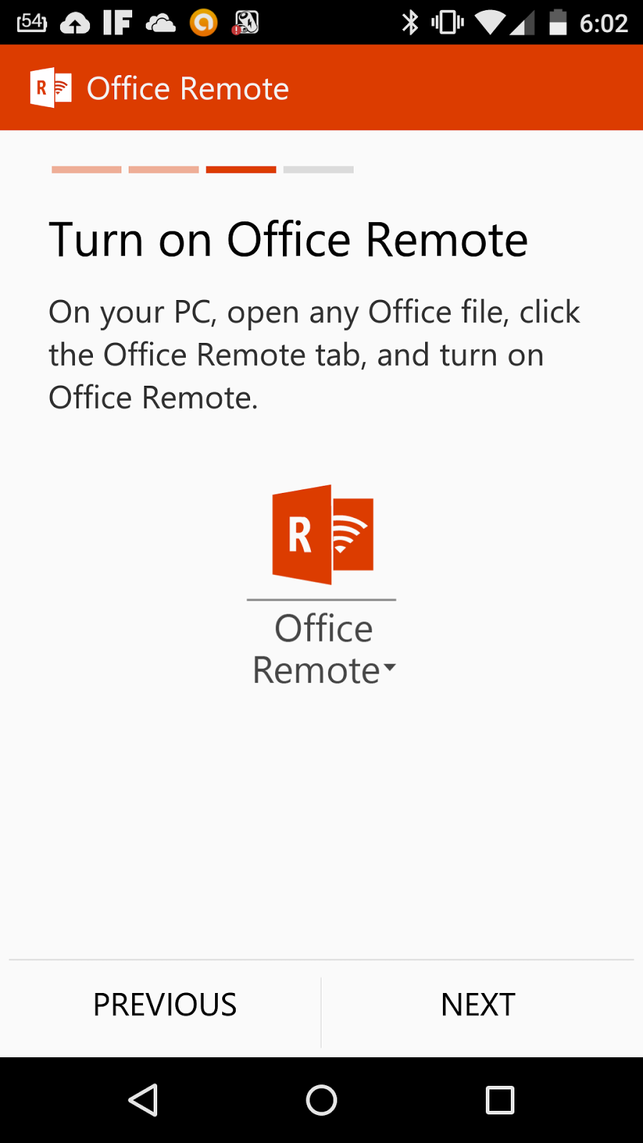 Office Remote Android Handy Turn on