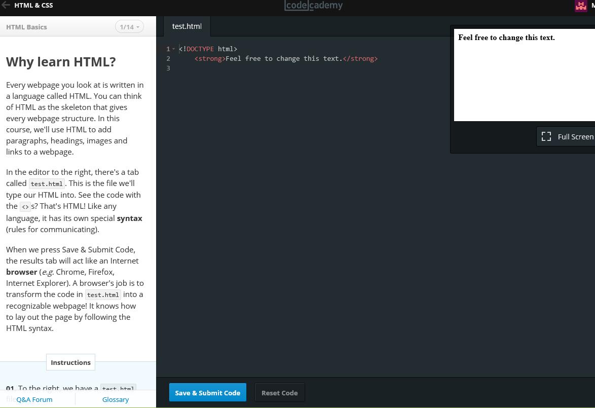 Codecademy HTML Einstiegsseite