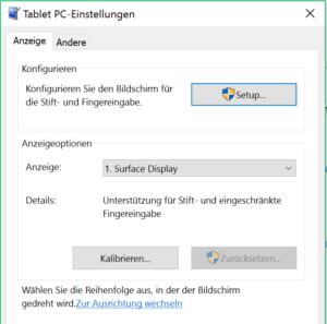 Tablet PC Einstellungen