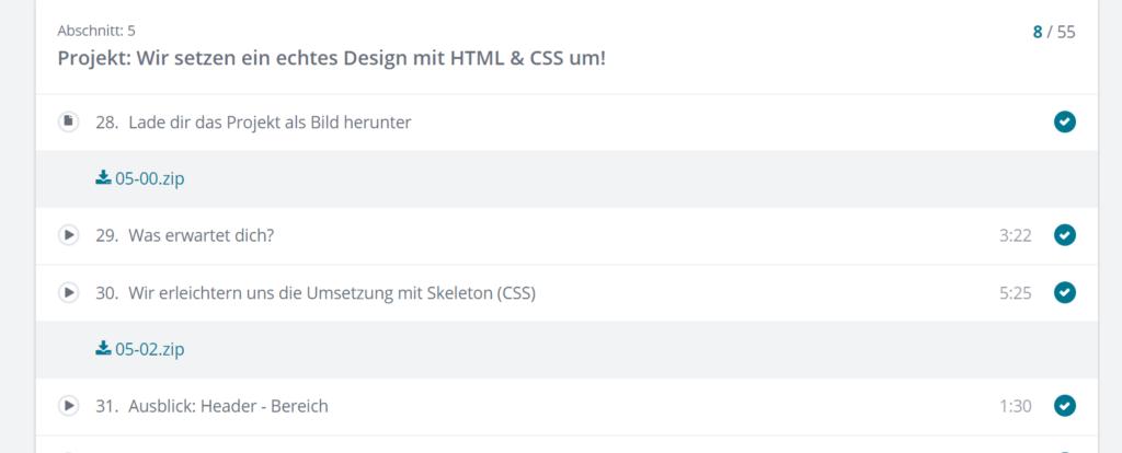 Kursinhalt HTML Udemy