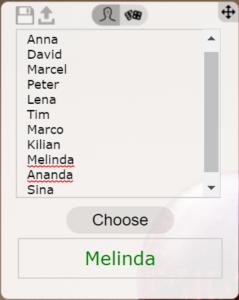 Namen auswählen