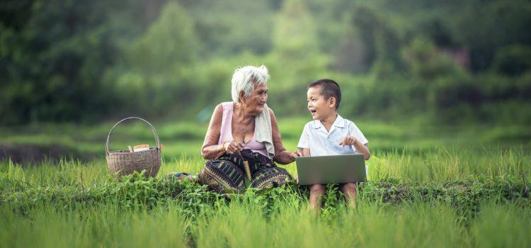 Grossmutter mit Enkel und Notebook