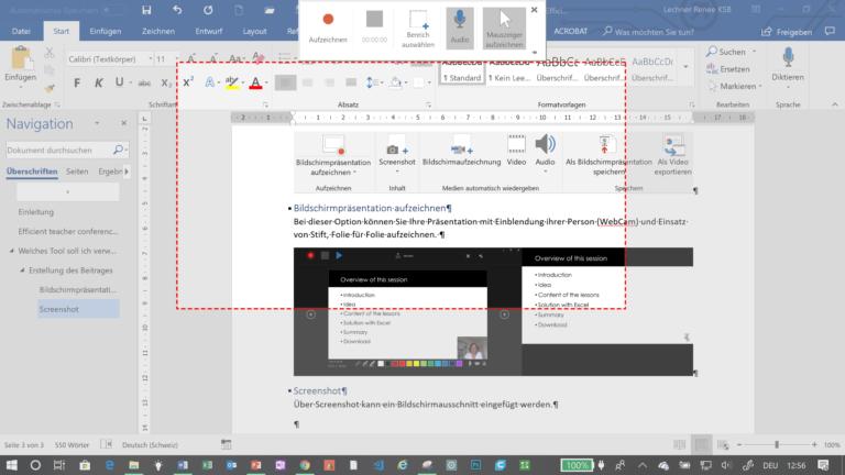 Bildschirmaufzeichnung in PowerPoint