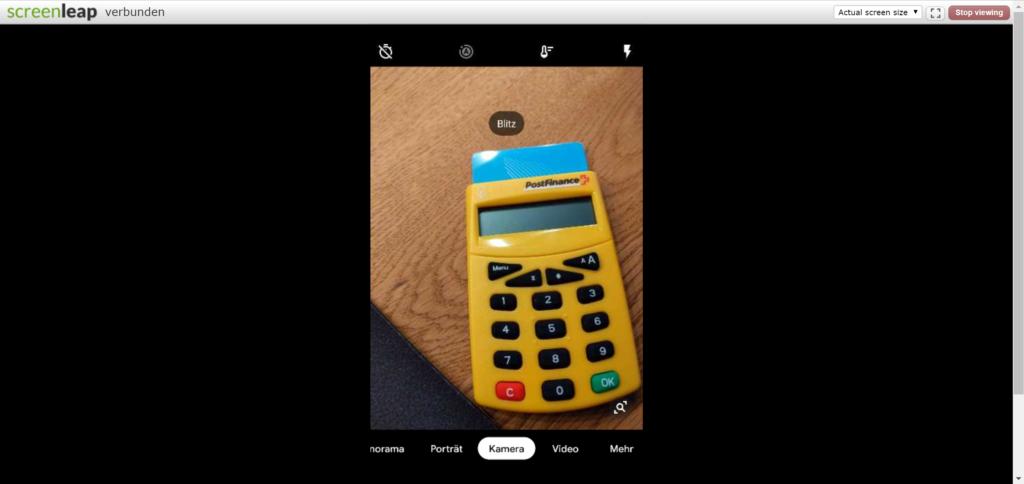 Uebertragung mit Screenleap vom Handy aufs Internet