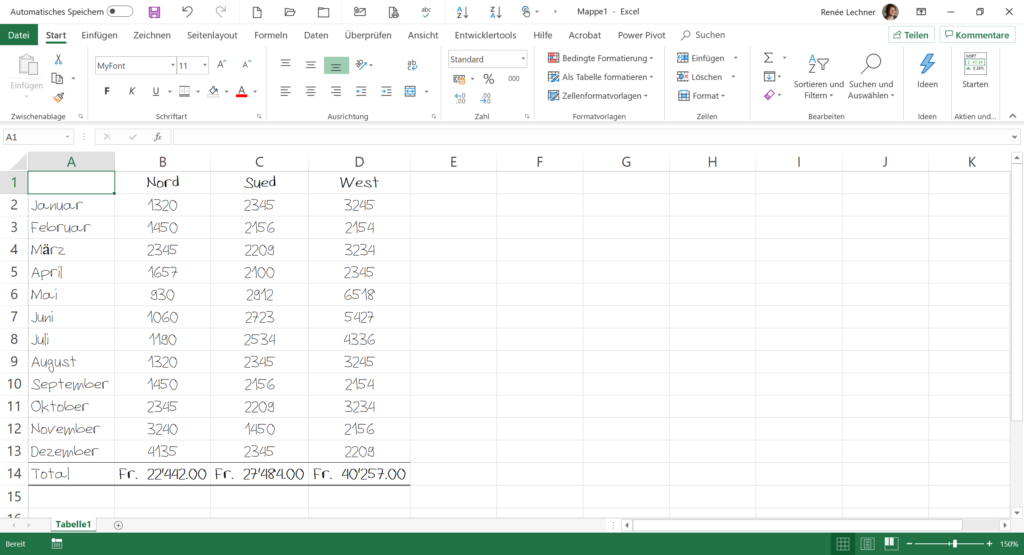 Eigene Schriftart in Excel