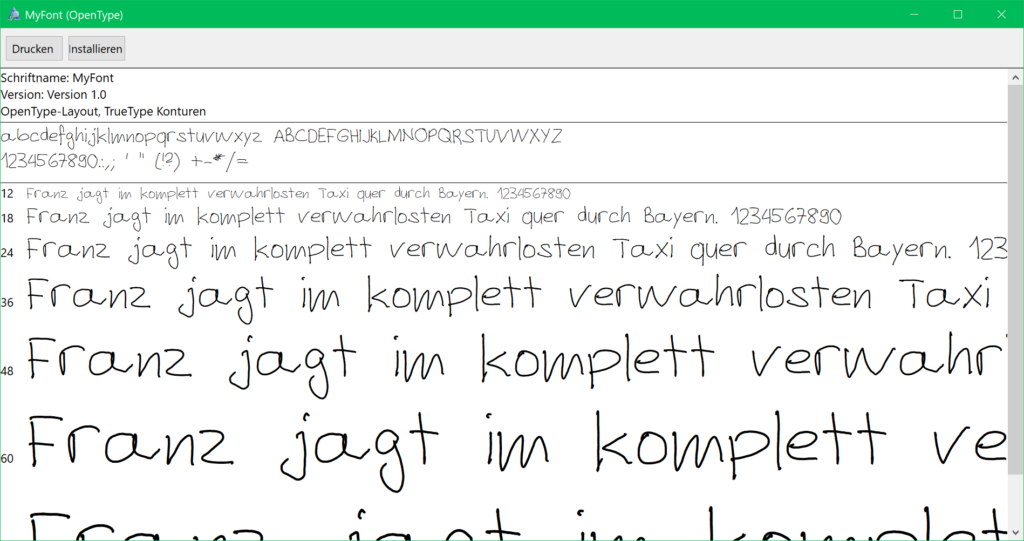 Schrift Installation unter Windows