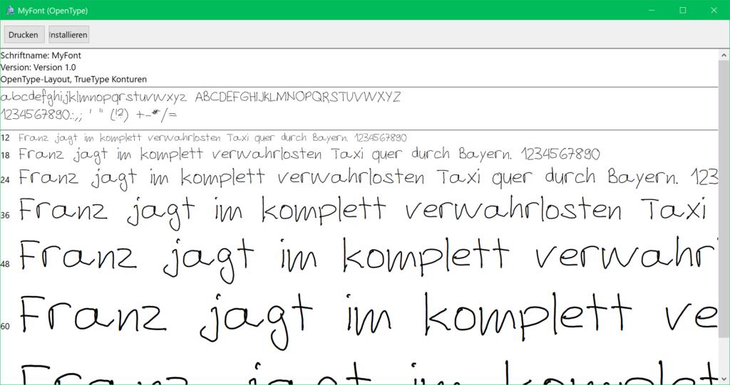 Schrift Installation unter Windows