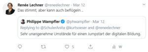 Tweet von Renée Lechner kann auch beflügeln...