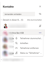 Bild Kontakte Status zu Teilnehmer