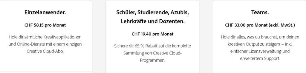 Kosten Adobe Cloud