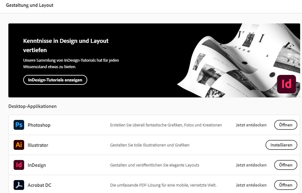Gestaltung und Layout Programme Adobe