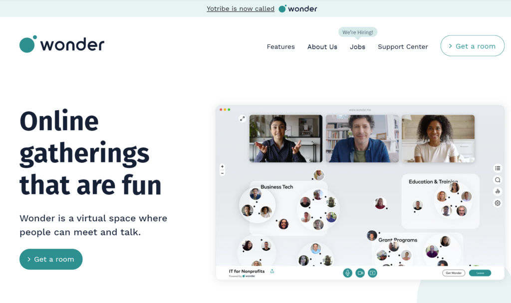 Wonder.me printscreen homepage