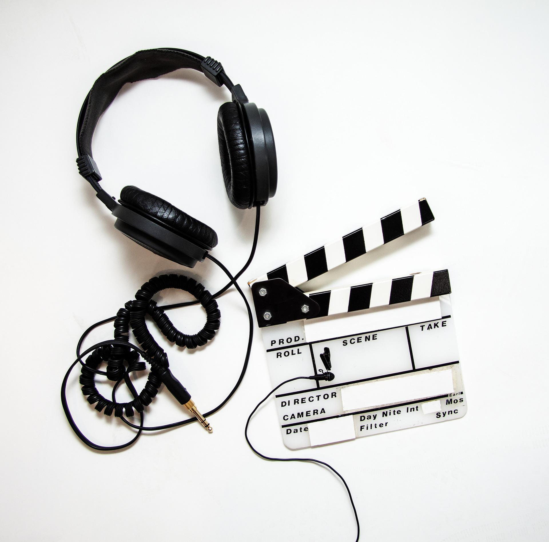 Kopfhörer und Klappe Camtasia